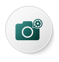 Green photo camera and gear icon isolated on white vector