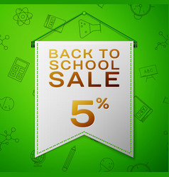 Grey pennant with back to school sale five percent vector