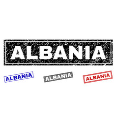 grunge albania textured rectangle watermarks vector image