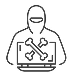 hacker laptop icon outline style vector image