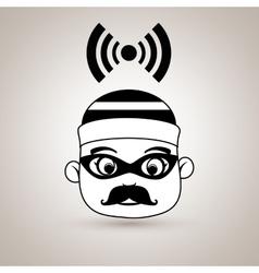 Hacker security alarm vector
