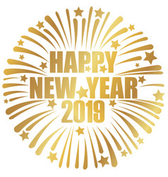 happy new year 2019 banner with fireworks vector image