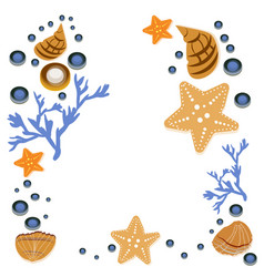 happy summer greeting card with seashells on white vector image