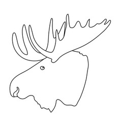 Head of an elk with horns canada single icon in vector