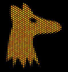 Hexagon halftone fox head icon vector