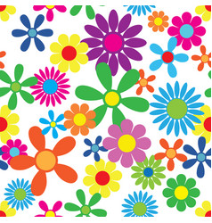 hippie flowers seamless pattern vector image