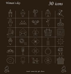 I love you womens doodle 30 icon in set of womens vector