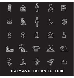 italy editable line icons set on black vector image
