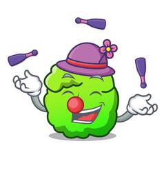 Juggling shrub mascot cartoon style vector