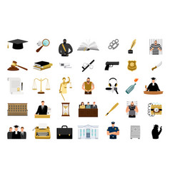 justice flat icons vector image