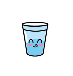Kawaii cute funny water glass vector