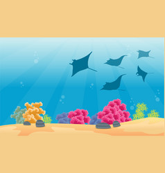 Landscape coral reef with stingray silhouettes vector
