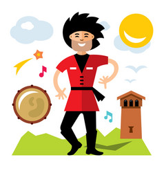 Lezginka dancer flat style colorful vector