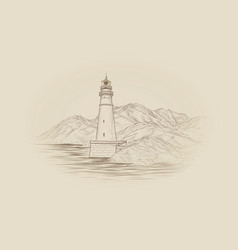 Lighthouse seascape seaside view landscape sea vector
