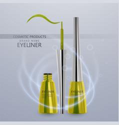 Liquid eyeliner set of bright yellow color vector