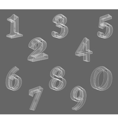 Low poly numbers font Set Polygon number vector