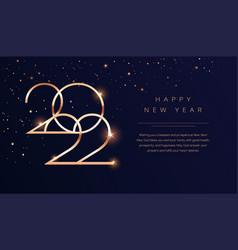 luxury 2022 happy new year background golden vector image