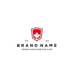 Maple shield logo design concept vector