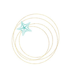Marine sketch line art seastar in gold wreath vector