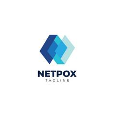 Modern technology blue layer logo design template vector