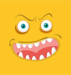 monster face on orange background vector image