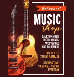 Music shop poster sketch musical instrument vector