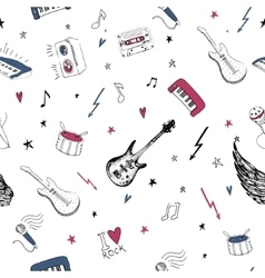 Music symbols Seamless pattern rock background vector