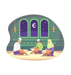 muslim reading quran islamic holy book vector image