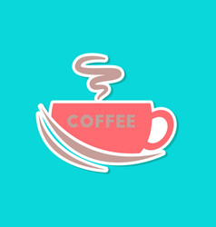 Paper sticker on stylish background coffee cup vector