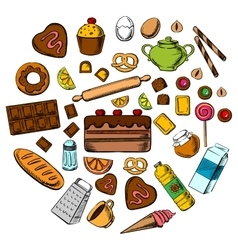 Pastry dessert and confectionery icons vector