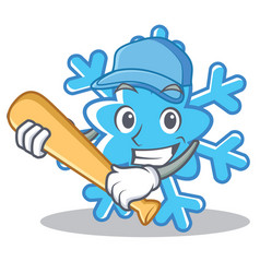 Playing baseball snowflake character cartoon style vector
