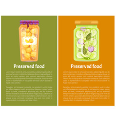 Preserved fruit and vegetables set icon vector