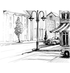 Retro city sketch street buildings and old cars vector image