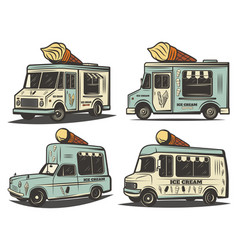 Retro colored ice cream transport set vector