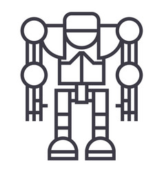 robotdroid line icon sign vector image