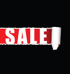 sale with tearing paper icon vector image