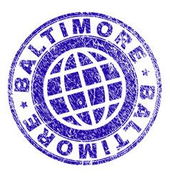 Scratched textured baltimore stamp seal vector