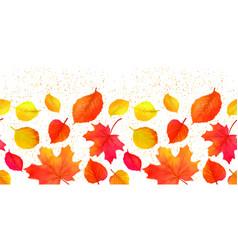 Seamless bright fall autumn leaves border vector