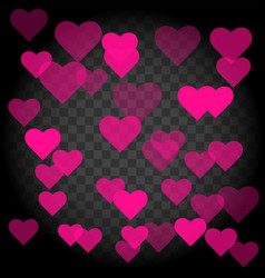 seamless pattern with hearts on transparent vector image