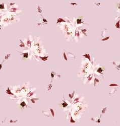 Seamless watercolor pattern with peonies vector