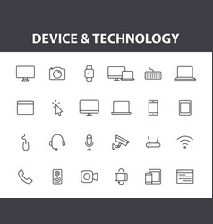 set 24 device and technology web icons in line vector image