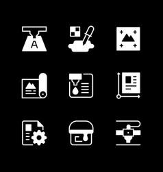 Set glyph icons print vector