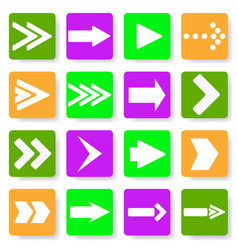 set of different arrows in the flat vector image
