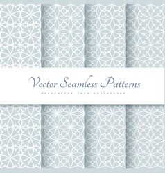Set of lace patterns in neutral color vector