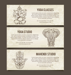 Set of yoga symbols Horizontal bannersIndian vector image