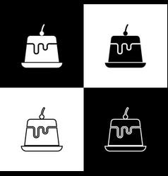 Set pudding custard with caramel glaze icons vector