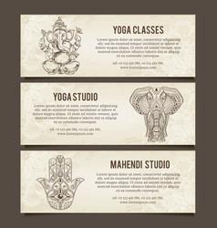 set yoga symbols horizontal bannersindian vector image