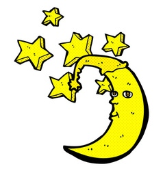 Sleepy moon comic cartoon vector