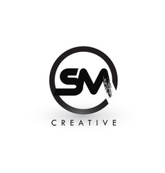 Sm brush letter logo design creative brushed vector