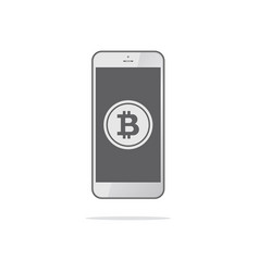 smartphone with bitcoin symbol on-screen bitcoin vector image